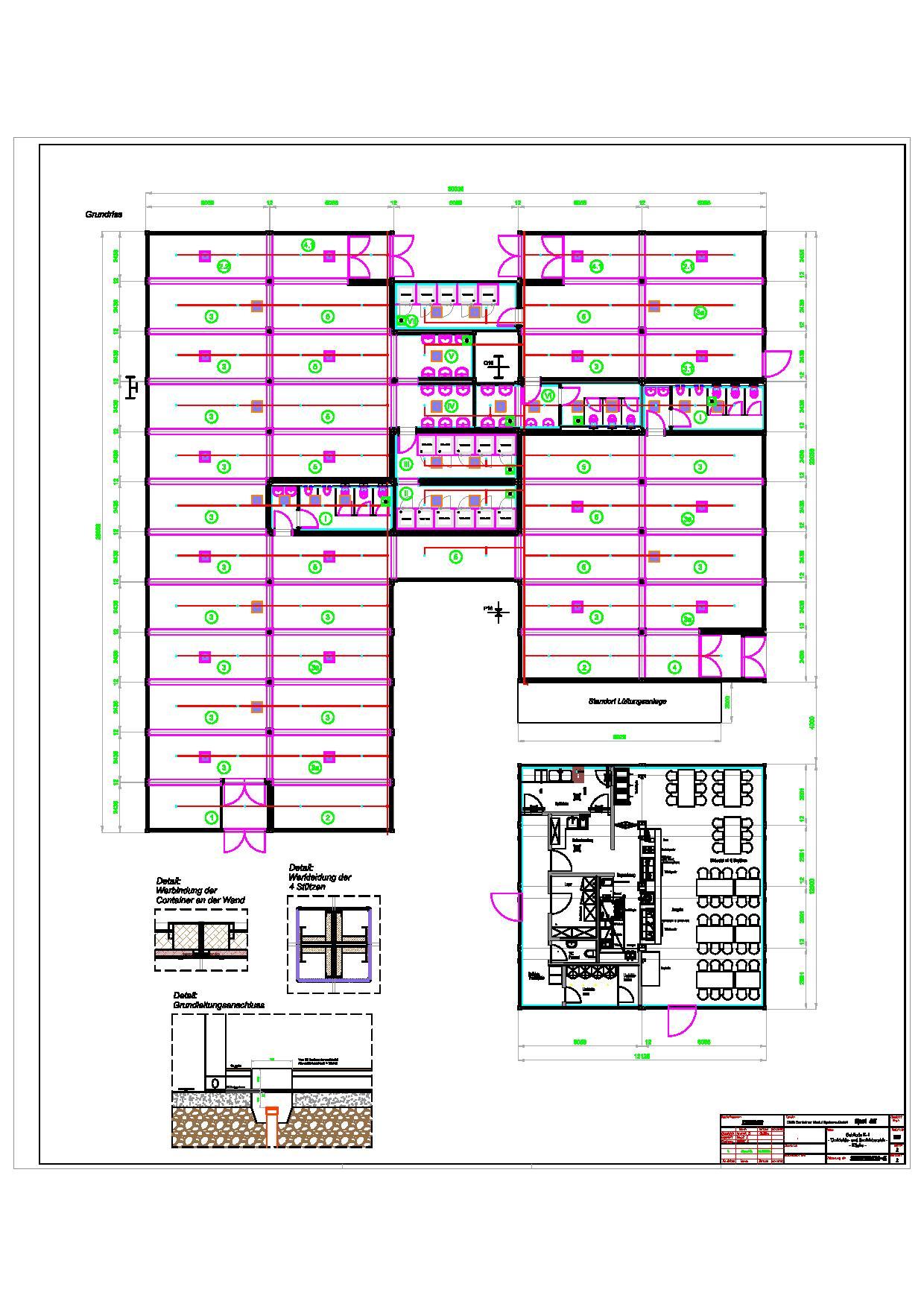 Gebrauchte Containeranlage - Grundriss CMS (Adam Opel AG) Gebäude K-1